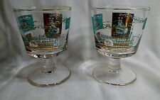 New listing Vtg Southern Comfort Footed Stem Glasses Turquoise & Gold Steam Paddle Boat
