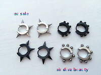 Men Women Rock Gothic Spike Hoop loop 316L Stainless Steel Titanium Earrings