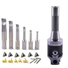 New R8 2inch Boring Head Set With 6 Indexable Boring Bar And 6 Carbide Inserts