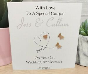Personalised Paper 1st Wedding Anniversary Card Special Couple Wife Husband