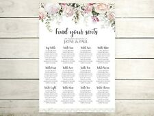 A2 floral border Wedding table plan /  seating plan (A3 also available)