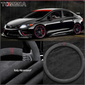 15 inch Non-slip Black Alcantara Suede Car Steering Wheel Cover For Honda Civic