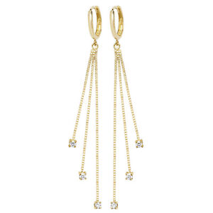 Attractive 9ct Gold Ladies Drop Earrings with Cubic Zirconia/CZ - 67mm*6mm