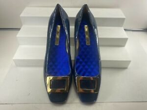 """Enzo Angiolini """"Roosie"""" Blue Patent Leather Slip On Low Heel Pump Size 6 1/2 M!!"""