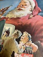 Vintage 1950 Sundblom Coca Cola Santa Christmas COKE Kids in Refrigerator Ad