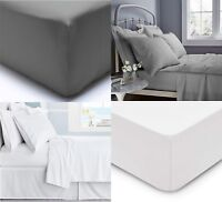 400 TC FITTED SHEET 30cm DEEP 100% EGYPTIAN COTTON SINGLE DOUBLE SUPER KING SIZE