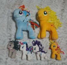 "Lot of 2 My Little Pony 7"" Plush TY Beanies Applejack, Rainbow Dash AND 4 mini"