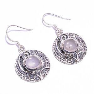 925 Sterling Silver Drop Earrings, Natural Rose Quartz Gemstone Jewelry CE1300