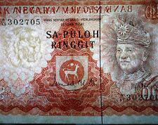 "MALAYSIA  RM10 1st Series Broken Security Thread SA-PULOH  A49 302705  ""GEF"""