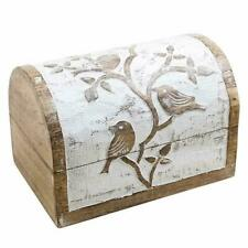 Wooden Jewellery Box Hand Carved Bird Design White Distressed Finish