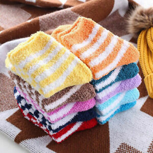 Ladies 6 Pairs Soft Fluffy Socks Warm Winter Cosy Lounge Bed Socks Gift Size 4-8