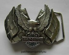 Harley Davidson Eagle/Flags Solid Brass Chrome Finished H-508 Baron Belt Buckle