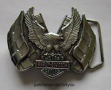Harley Davidson Eagle/Flags Solid Brass Chrome Finished H-508 Baron Belt Buckle