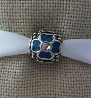 Blue Silver Flower Bead For European Charm Bracelet or Necklace Fashion Jewelry