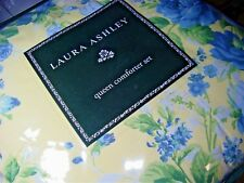 New Laura Ashley Comforter set Queen 4 P JOYCE YELLOW BLUE FLORAL FLOWERS