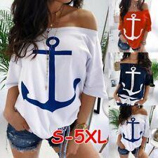 Women's Summer Short Sleeve Blouse Anchor T Shirt Tops Loose Tunic Tee Plus Size