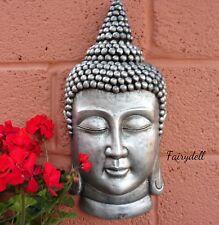 IMPRESSIVE 50cm SILVER BUDDHA PLAQUE ~ VERY LARGE ORNAMENT~ ZEN GARDEN DECOR