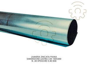 Lamiera zincata piana 100 x 200 cm n. 28 spessore 0,40 mm 7 kg