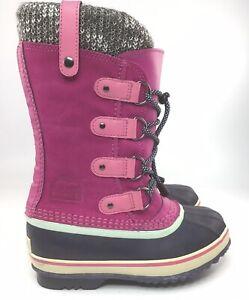Sorel Waterproof Girls Winter Boots Pink Joan of Arctic Knit Kids Size 1Y