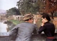 Oil painting emile friant - les amoureux (soir dautomne) lovers (autumn evening)