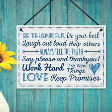 Be Thankful Family Rules Wall Plaque New Home Kitchen Friendship Door Sign Gifts