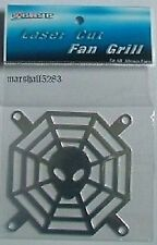 2 X SPIDER WEB CHROME LASER CUT FAN GRILLS 80mm BNIP