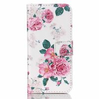 Rose Flower PU Leather Wallet Case Folio Flip Cover Stand Card Slot for Phones