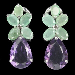 Unheated Pear Purple Amethyst 15x10mm Emerald 925 Sterling Silver Earrings