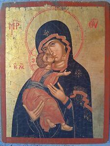 Icona  Theotokos di Vladimir Neo Bizantina Fine 1900 Eccellente Dipinto A Mano
