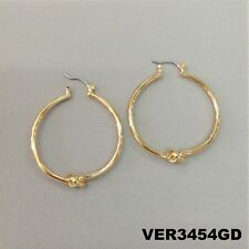 Design Circle Round Hoop Earrings Unique Elegant Style Gold Finish Knotted
