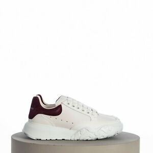 ALEXANDER MCQUEEN 490$ Court Trainer In White Nappa Leather With Wine Suede Heel