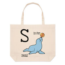 Letter S Is For Seal Large Beach Tote Bag - Alphabet Cute Funny Shopper Shoulder