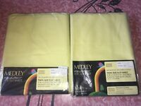 SEARS MEDLEY ~ NOS Vtg Twin Flat Sheet Yellow Perma Prest Percale 1960's ~ 2 Lot