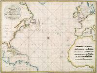 1797 Chart Western Ocean or The Atlantic Survey Map Coastal Nautical Wall Poster