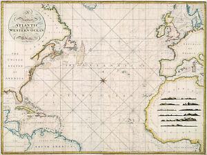 1797 Chart Western Ocean or The Atlantic Survey Map Coastal Nautical Poster 11x1