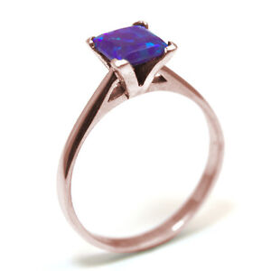 Engagement Ring Princess Cut Supernova Opal Solitaire 9ct Gold SS210
