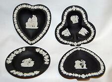 4 Wedgwood Jasperware Bridge Heart Spade Club Round Trays Pin Ash Tray Black
