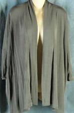 Chicos Travelers 0 Small Taupe Short Sleeve Open Front Jacket Chico's