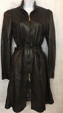 Roberto Cavalli Leather Zip Up Coat Print Lining Tie Belt Size M