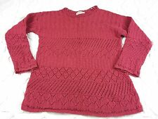 Vtg LL Bean womens sz L Sweater Red Cotton Cable Knit Openwork Long Crew Neck