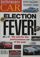 Performance Car 01/1991 featuring Lotus Carlton, Porsche 911 Turbo, Mazda MX-5