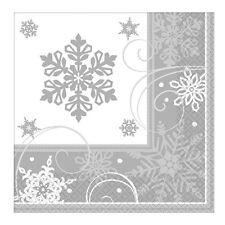 16 x Natale Argento Fiocco Di Neve Tovaglioli Festa Stoviglie GRATIS P&P