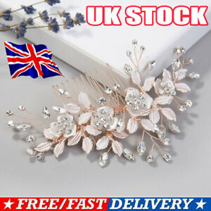 Women Bridal Hair Comb Vintage Bridal Hair Accessories Vine Crystal Pink Gift UO