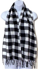 Knit Scarf Wrap with Tassels Black and White Plaid Lightweight