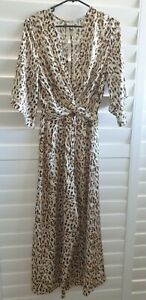 Sheike Instinct leopard animal print twist front jumpsuit size 8