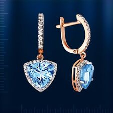 Pearl Blue Topaz Briolette Earrings Russian Solid Rose Gold 585 /14ct