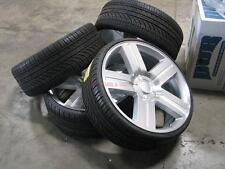 26 Wheels Texas Edition Rims Chevy Silverado Tahoe Silver Machined GMC Yukon LTZ