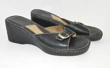 Brown's Landing Wedge Black Leather Silver Buckle Sandals Size 10