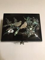 Vintage Black Lacquered Oriental Mother of Pearl Inlay Jewelry/Music Box Tested