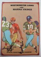 Westminster Lions vs. Marina Vikings 1978 Football Program High School OC, CA